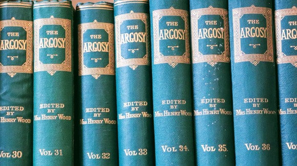 A row of Argosy publications in the Terrick Dining Room at Fulham Palace