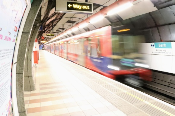 'Mind the Gap' is a picture of the DLR train just coming into the station
