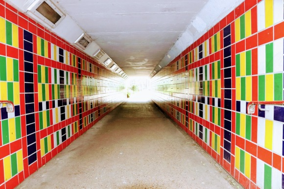 'Tile Illusion' - light refracting through the entrance of an underpass which is covered in coloured tiles