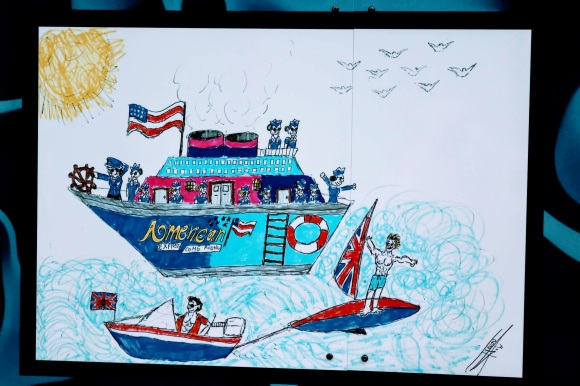 a child's painting of a boat with charicature crew of a captain and a number of stewerdesses. Emblazoned with the American flag and advertising American Express
