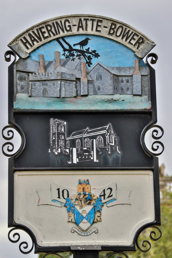 a village sign of havering-atte-bower