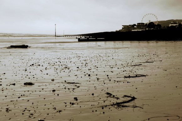 a sepia toned black and white picture of eastbourne shoreline as the tide comes in
