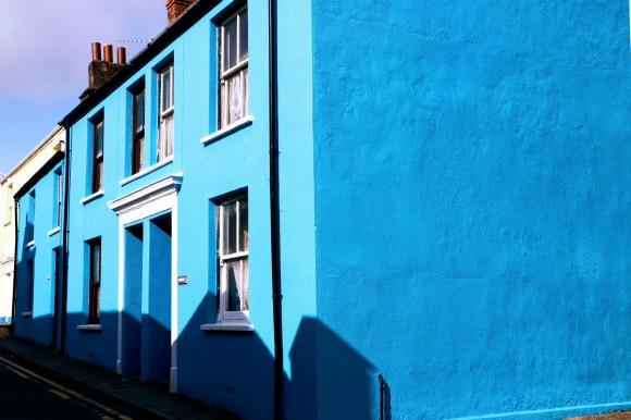 a brightly blue coloured house in Vulcan Street, Aberystwyth