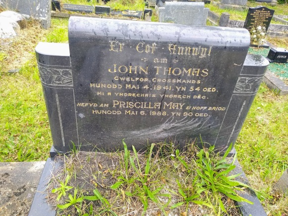 my grandparent's headstone: John Thomas and Priscilla May