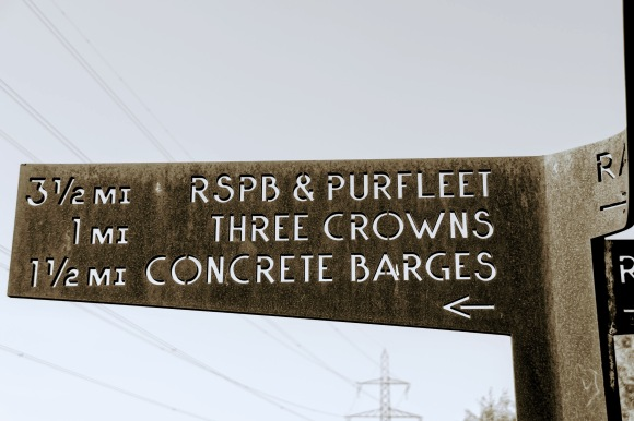 an intentionally rusty foothpath sign. I've captured the arm pointing in a southerly direction with three destinations: 3.5 miles to RSPB Purfleet; 1 mile to the Three Crowns, and 1.5 miles to the Concrete Barges