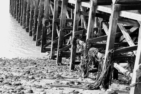 a wooden pier at low tide. taken in black and white to emphasise geometric construction
