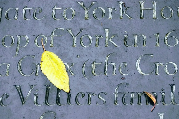 an enhanced colour shot to highlight a laregr yellow leaf and a smaller brown leaf with the engraved gold leaf words of the plaque standing out.  I've deliberatly framed the plaque to pick up the words 'York House' and 'Villiers family'